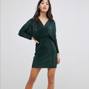 ASOS Petite Batwing V-Neck Plisse Mini Dress